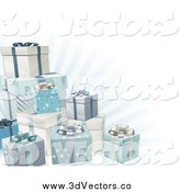May 7th, 2014: Vector Clipart of 3d Blue Silver and White Gifts and Rays by AtStockIllustration