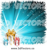 Vector Clipart of 3d Christmas Gifts over a Bursting Blue Background with Grunge and Stars by KJ Pargeter