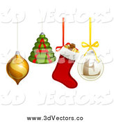 Vector Clipart of 3d Christmas Ornaments Spelling SALE by AtStockIllustration