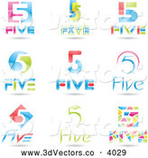 Vector Clipart of 3d Colorful Number Fives by Cidepix