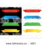 Vector Clipart of 3d Colorful Origami Paper Banners on White and Black by Vector Tradition SM