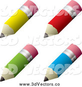 Vector Clipart of 3d Colorful Pencils with Eraser Tips by Michaeltravers