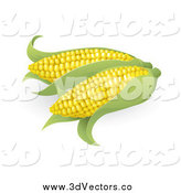 Vector Clipart of 3d Ears of Corn by AtStockIllustration