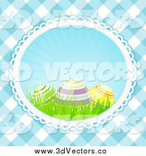 Vector Clipart of 3d Easter Eggs and Grass over Blue Gingham by Elaineitalia