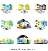 Vector Clipart of 3d Eyes and Glasses by Cidepix