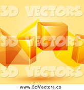 Vector Clipart of 3d Geometric Orange Floating Cubes by Elaineitalia