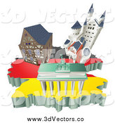 Vector Clipart of 3d German Tourist Attractions on a Flag Map of Germany by AtStockIllustration