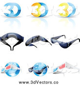 June 29th, 2014: Vector Clipart of 3d Glasses and Globes by Cidepix