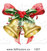 Vector Clipart of 3d Golden Christmas Bells, a Red Bow and Sprig of Holly by AtStockIllustration