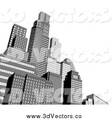Vector Clipart of 3d Grayscale City Skyscraper Buildings with White Copyspace by AtStockIllustration