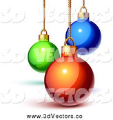 Vector Clipart of 3d Green, Blue and Red Christmas Baubles on Gold Chains by Oligo
