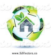 May 16th, 2014: Vector Clipart of 3d Green Recycle Arrows Around a House Bubble by Beboy