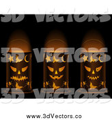 Vector Clipart of 3d Halloween Jackolantern Faced Candle Lanterns by Elaineitalia