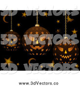 Vector Clipart of 3d Halloween Lanterns with Bats Stars and Moons by Elaineitalia