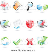 Vector Clipart of 3d Internet Icons by Cidepix