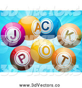 Vector Clipart of 3d Jackpot Lottery Balls on Blue by Elaineitalia