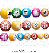 Vector Clipart of 3d Lottery Bingo Balls by Elaineitalia
