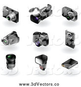Vector Clipart of 3d Modern Camera and Video Recorders by TA Images