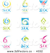 Vector Clipart of 3d Number Six Logos by Cidepix