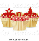Vector Clipart of 3d Red and Gold Christmas Cupcakes by Elaineitalia
