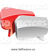 February 21st, 2014: Vector Clipart of 3d Red and Silver Shiny Chat Balloons by Vector Tradition SM