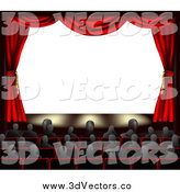 Vector Clipart of 3d Red Theater Curtains and an Audience Facing a Blank Screen by AtStockIllustration
