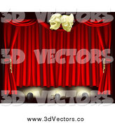 Vector Clipart of 3d Red Theater Stage Curtains Lighting and Masks by AtStockIllustration