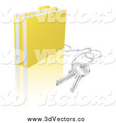 Vector Clipart of 3d Secure Folder Files with a Key Ring by AtStockIllustration