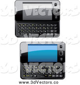 Vector Clipart of 3d Shiny Slide Phones by Vector Tradition SM