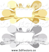 Vector Clipart of 3d Silver and Gold Tube Banners with Copyspace by Andrei Marincas