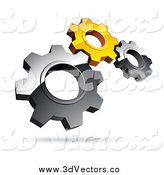 Vector Clipart of 3d Silver and Yellow Gears by Beboy