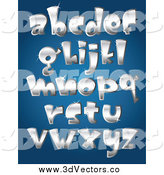 Vector Clipart of 3d Silver Lowercase Letters by Yayayoyo