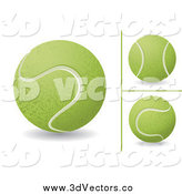 Vector Clipart of 3d Tennis Balls by MilsiArt