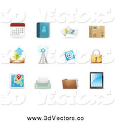 Vector Clipart of 3d Web Browser Communication Icons by Qiun