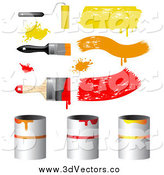 Vector Clipart of 3d Yellow and Red Paint Brushes and Cans by Vectorace