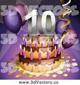 Vector Clipart of a 3d 10th Birthday Anniversary Party Cake by Oligo