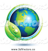 Vector Clipart of a 3d American Globe Circled with a Dewy Leaf by Beboy