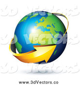 Vector Clipart of a 3d Arrow Circling a Green and Blue African and European Globe by Beboy