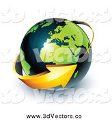 Vector Clipart of a 3d Arrow Circling a Green and Dark Blue African and European Globe by Beboy
