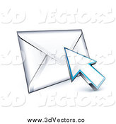Vector Clipart of a 3d Arrow Cursor on an Envelope by Beboy