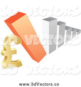 Vector Clipart of a 3d Bar Graph Falling down on a Lira Symbol by Andrei Marincas