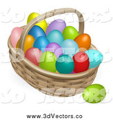 Vector Clipart of a 3d Basket Full of Colorful Easter Eggs by AtStockIllustration