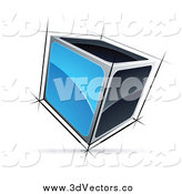 Vector Clipart of a 3d Blue and Black Cube by Beboy