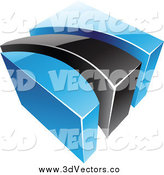 Vector Clipart of a 3d Blue and Black Swoosh and Cube by Cidepix