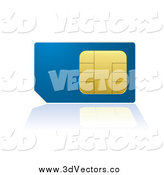 Vector Clipart of a 3d Blue and Gold Cell Phone SIM Card by Michaeltravers