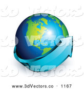Vector Clipart of a 3d Blue Arrow Circling a Green and Blue American Earth Globe by Beboy
