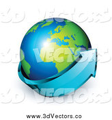 Vector Clipart of a 3d Blue Arrow Circling an African and European Globe by Beboy