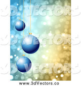 Vector Clipart of a 3d Blue Christmas Ornaments over Sparkly Lights by KJ Pargeter