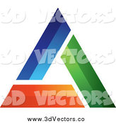 Vector Clipart of a 3d Blue Green and Orange Triangle Design by TA Images