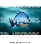 Vector Clipart of a 3d Blue Shark Swimming in the Deep Sea with Fish Schools in the Background by Qiun